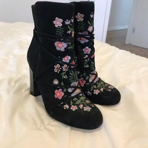 Suede Embroidered Heeled Booties